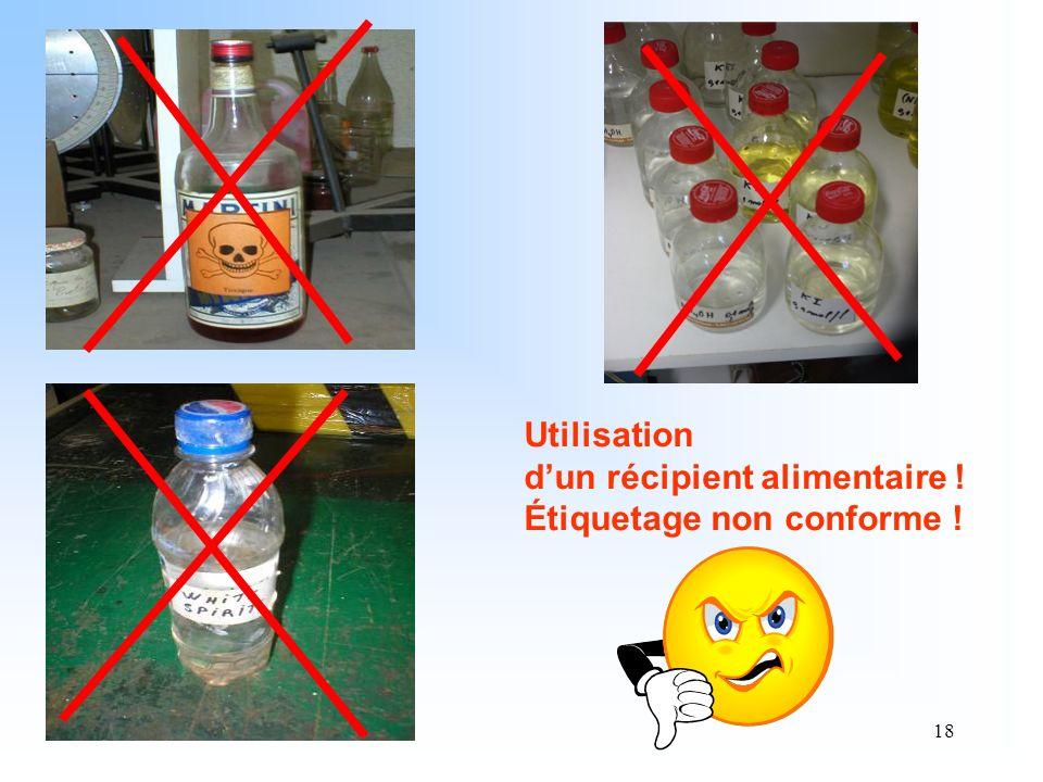 18 Utilisation dun récipient alimentaire ! Étiquetage non conforme !