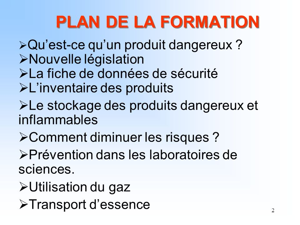 23 Tout produit dangereux doit être livré avec la fiche de données de sécurité (FDS).