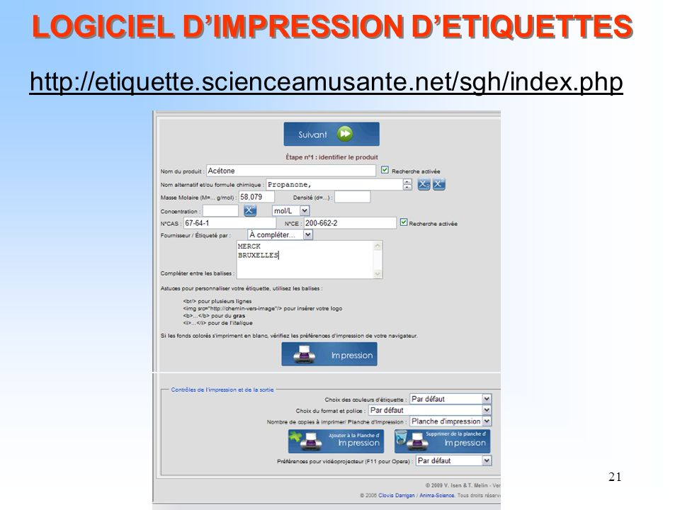 21 LOGICIEL DIMPRESSION DETIQUETTES http://etiquette.scienceamusante.net/sgh/index.php
