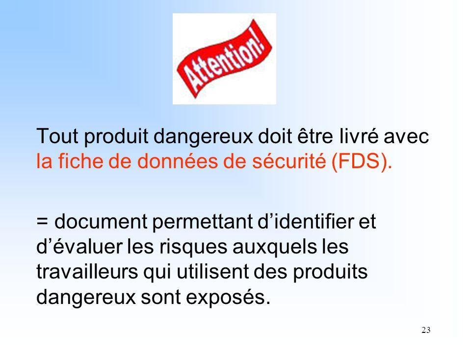 23 Tout produit dangereux doit être livré avec la fiche de données de sécurité (FDS). = document permettant didentifier et dévaluer les risques auxque