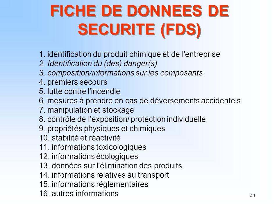 24 FICHE DE DONNEES DE SECURITE (FDS) 1. identification du produit chimique et de l'entreprise 2. Identification du (des) danger(s) 3. composition/inf