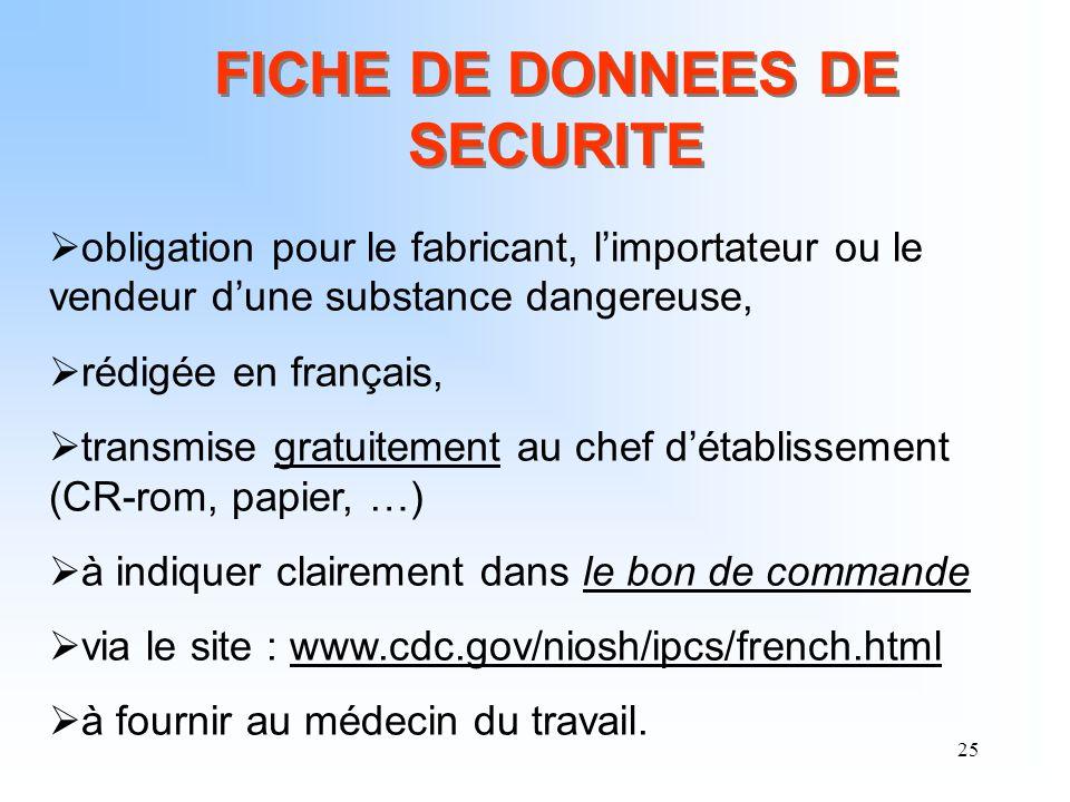25 obligation pour le fabricant, limportateur ou le vendeur dune substance dangereuse, rédigée en français, transmise gratuitement au chef détablissem