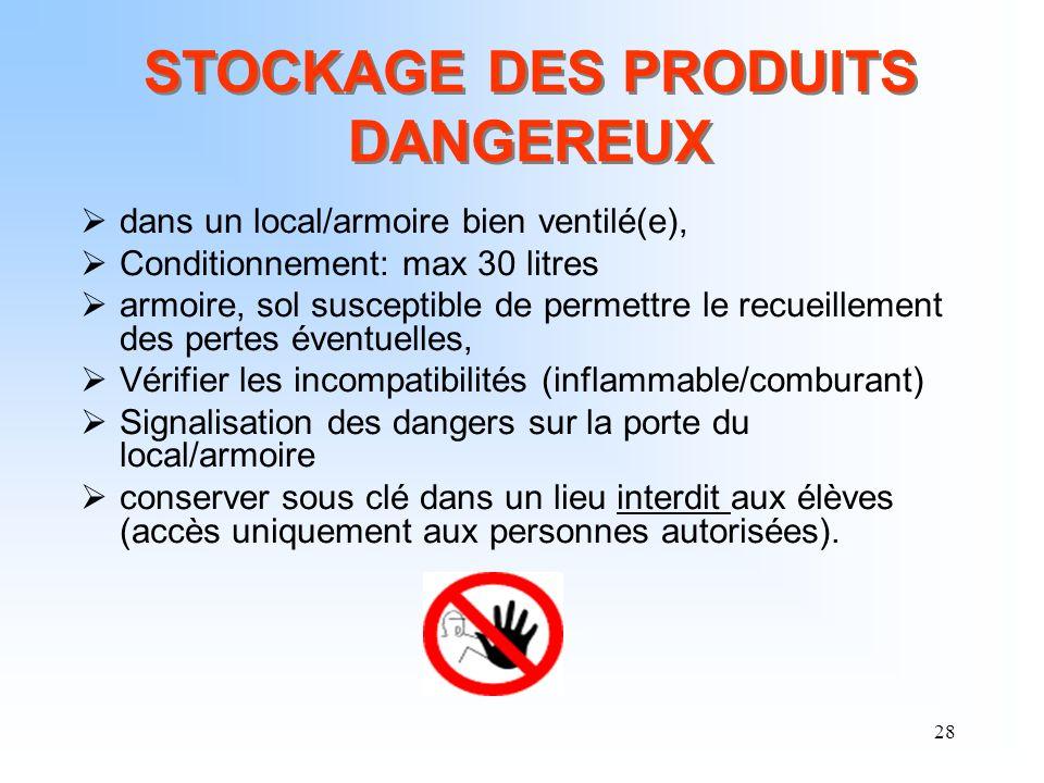 28 dans un local/armoire bien ventilé(e), Conditionnement: max 30 litres armoire, sol susceptible de permettre le recueillement des pertes éventuelles