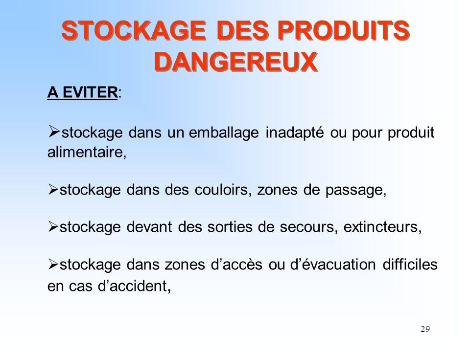 29 STOCKAGE DES PRODUITS DANGEREUX A EVITER: stockage dans un emballage inadapté ou pour produit alimentaire, stockage dans des couloirs, zones de pas