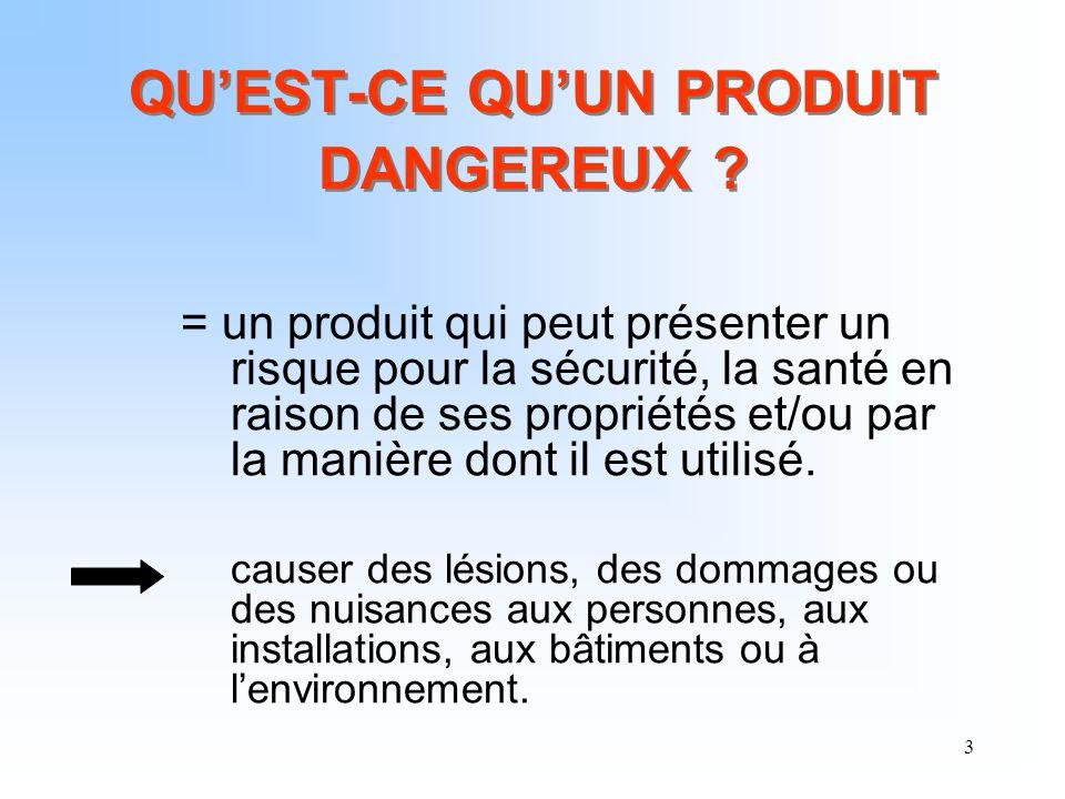 3 QUEST-CE QUUN PRODUIT DANGEREUX ? = un produit qui peut présenter un risque pour la sécurité, la santé en raison de ses propriétés et/ou par la mani