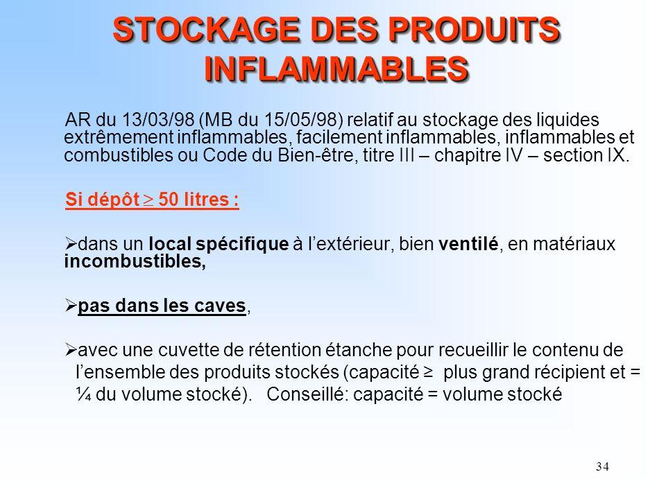 34 STOCKAGE DES PRODUITS INFLAMMABLES AR du 13/03/98 (MB du 15/05/98) relatif au stockage des liquides extrêmement inflammables, facilement inflammabl