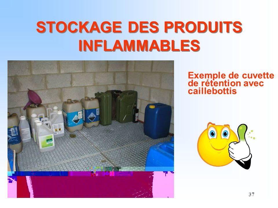 37 STOCKAGE DES PRODUITS INFLAMMABLES Exemple de cuvette de rétention avec caillebottis