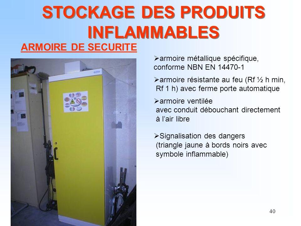 40 STOCKAGE DES PRODUITS INFLAMMABLES ARMOIRE DE SECURITE armoire métallique spécifique, conforme NBN EN 14470-1 armoire résistante au feu (Rf ½ h min