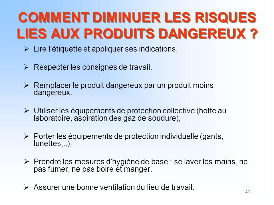 42 COMMENT DIMINUER LES RISQUES LIES AUX PRODUITS DANGEREUX ? Lire létiquette et appliquer ses indications. Respecter les consignes de travail. Rempla