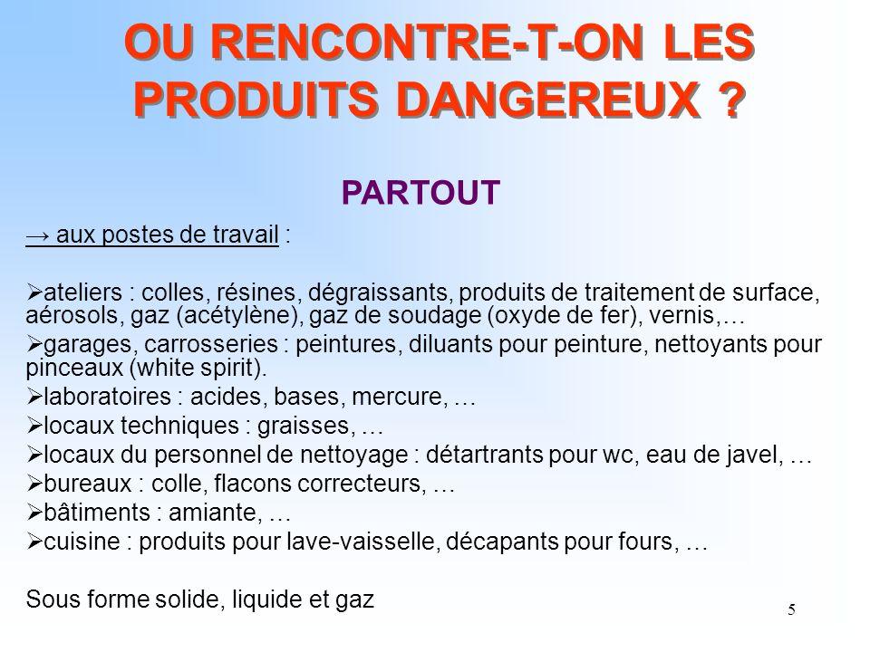 5 OU RENCONTRE-T-ON LES PRODUITS DANGEREUX ? aux postes de travail : ateliers : colles, résines, dégraissants, produits de traitement de surface, aéro