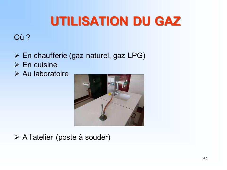 52 UTILISATION DU GAZ Où ? En chaufferie (gaz naturel, gaz LPG) En cuisine Au laboratoire A latelier (poste à souder)