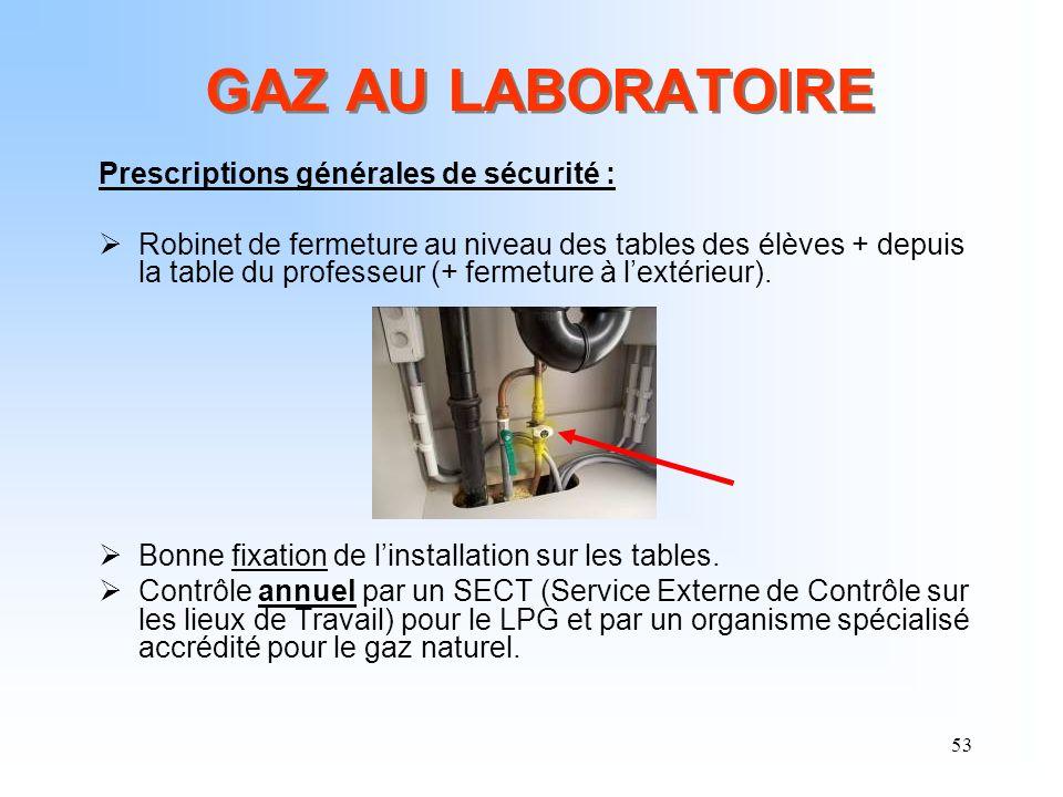53 GAZ AU LABORATOIRE Prescriptions générales de sécurité : Robinet de fermeture au niveau des tables des élèves + depuis la table du professeur (+ fe