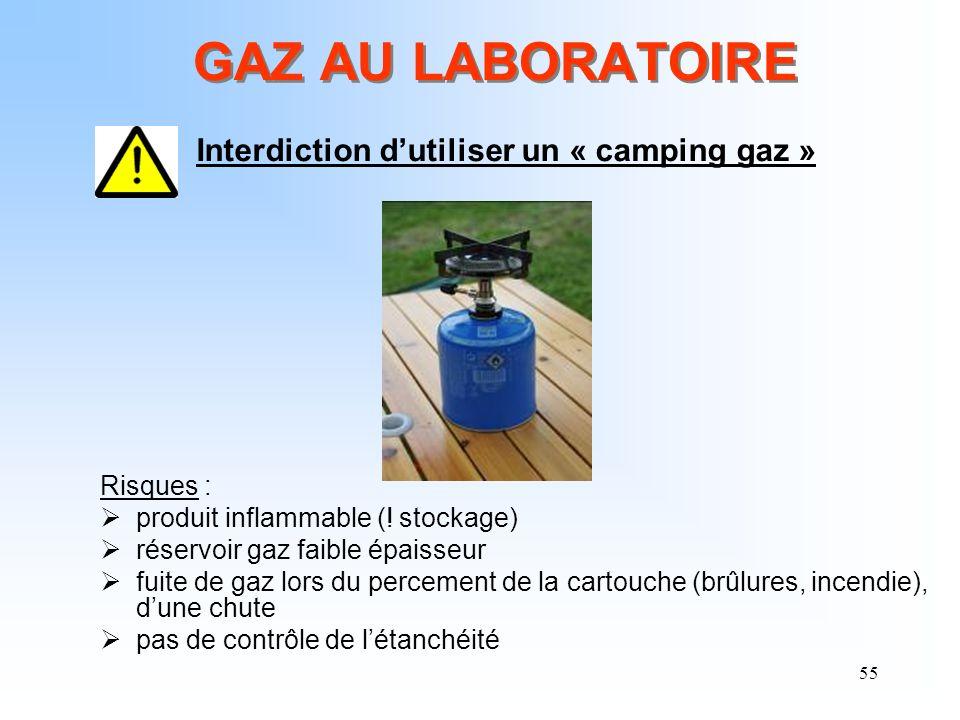 55 GAZ AU LABORATOIRE Interdiction dutiliser un « camping gaz » Risques : produit inflammable (! stockage) réservoir gaz faible épaisseur fuite de gaz