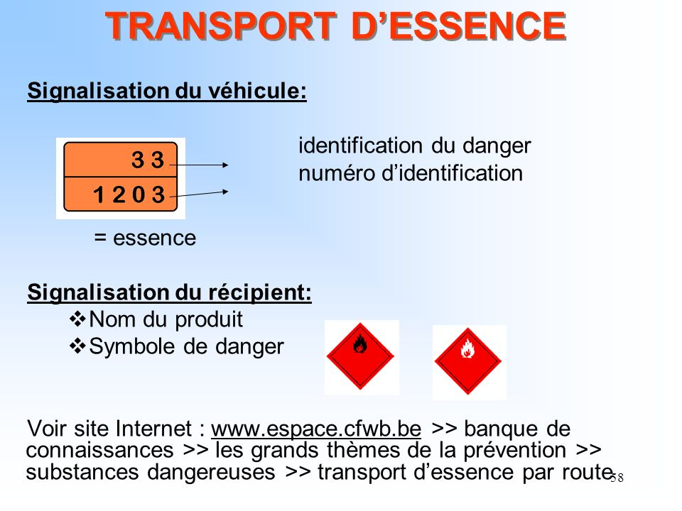 58 TRANSPORT DESSENCE Signalisation du véhicule: identification du danger numéro didentification = essence Signalisation du récipient: Nom du produit