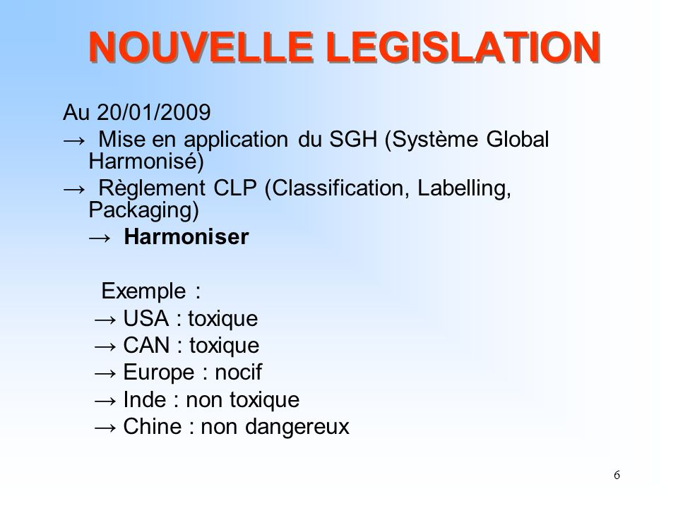 6 NOUVELLE LEGISLATION Au 20/01/2009 Mise en application du SGH (Système Global Harmonisé) Règlement CLP (Classification, Labelling, Packaging) Harmon