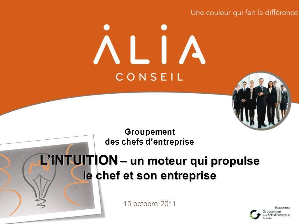 Groupement des chefs dentreprise 15 octobre 2011 LINTUITION – un moteur qui propulse le chef et son entreprise