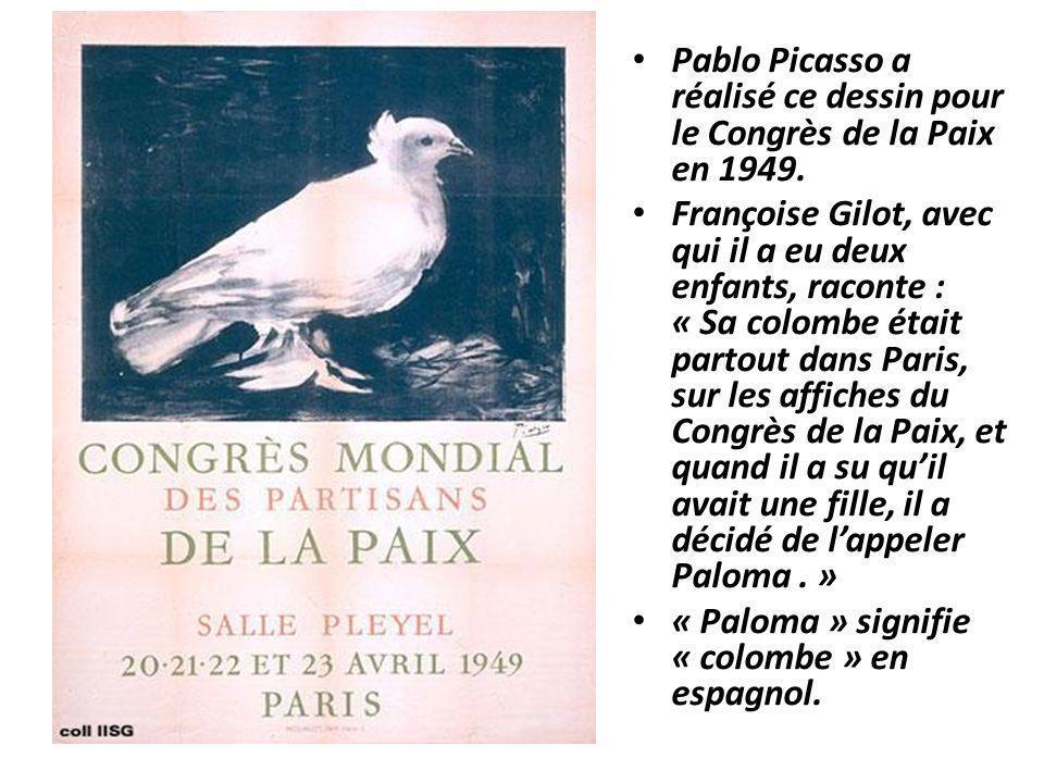 Pablo Picasso a réalisé ce dessin pour le Congrès de la Paix en 1949. Françoise Gilot, avec qui il a eu deux enfants, raconte : « Sa colombe était par