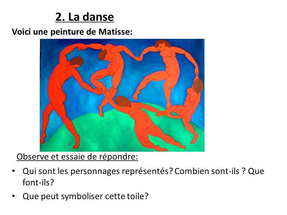 2. La danse Observe et essaie de répondre: Qui sont les personnages représentés? Combien sont-ils ? Que font-ils? Que peut symboliser cette toile? Voi