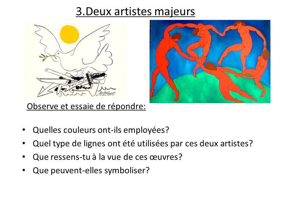3.Deux artistes majeurs Les couleurs utilisées dans ces œuvres sont vives et disposées en aplats (de grandes masses de la même couleur, pas de dégradés).