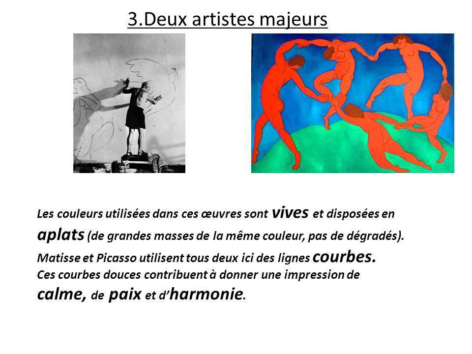 3.Deux artistes majeurs Les couleurs utilisées dans ces œuvres sont vives et disposées en aplats (de grandes masses de la même couleur, pas de dégradé