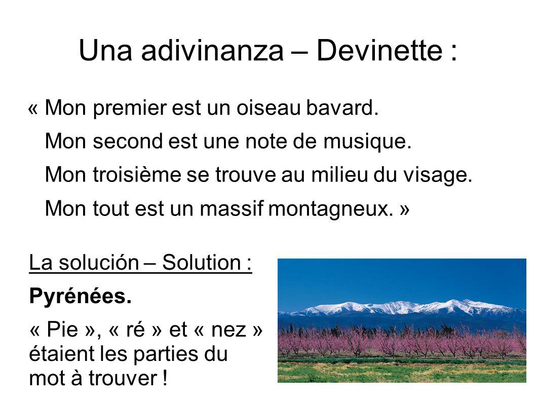 Una adivinanza – Devinette : « Mon premier est un oiseau bavard. Mon second est une note de musique. Mon troisième se trouve au milieu du visage. Mon