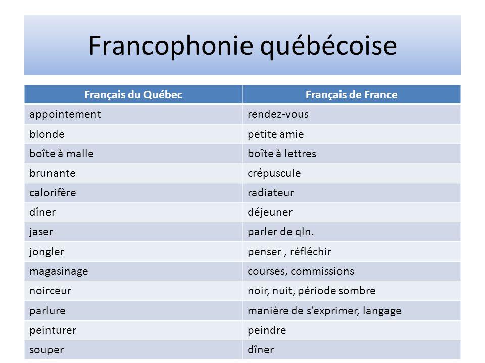 Francophonie québécoise Français du QuébecFrançais de France appointementrendez-vous blondepetite amie boîte à malleboîte à lettres brunantecrépuscule