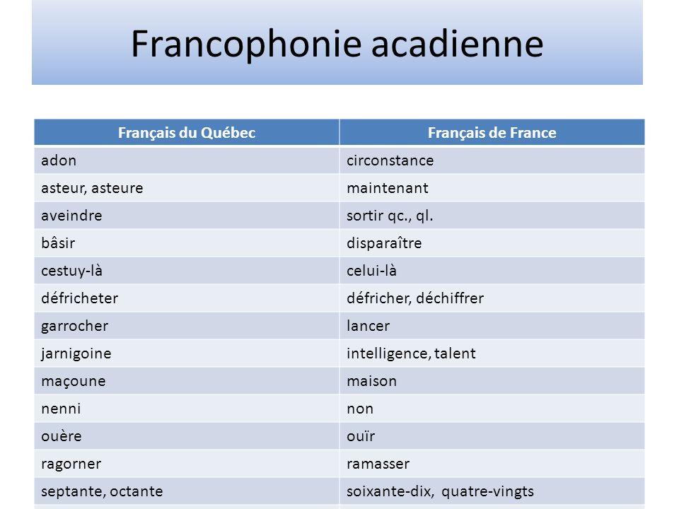 Francophonie acadienne Français du QuébecFrançais de France adoncirconstance asteur, asteuremaintenant aveindresortir qc., ql. bâsirdisparaître cestuy