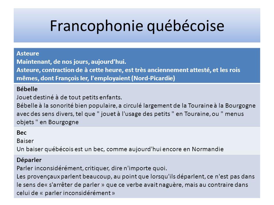 Francophonie québécoise Asteure Maintenant, de nos jours, aujourd'hui. Asteure, contraction de à cette heure, est très anciennement attesté, et les ro