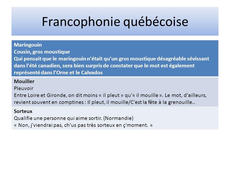 Francophonie québécoise Maringouin Cousin, gros moustique Qui pensait que le maringouin n'était qu'un gros moustique désagréable sévissant dans l'été
