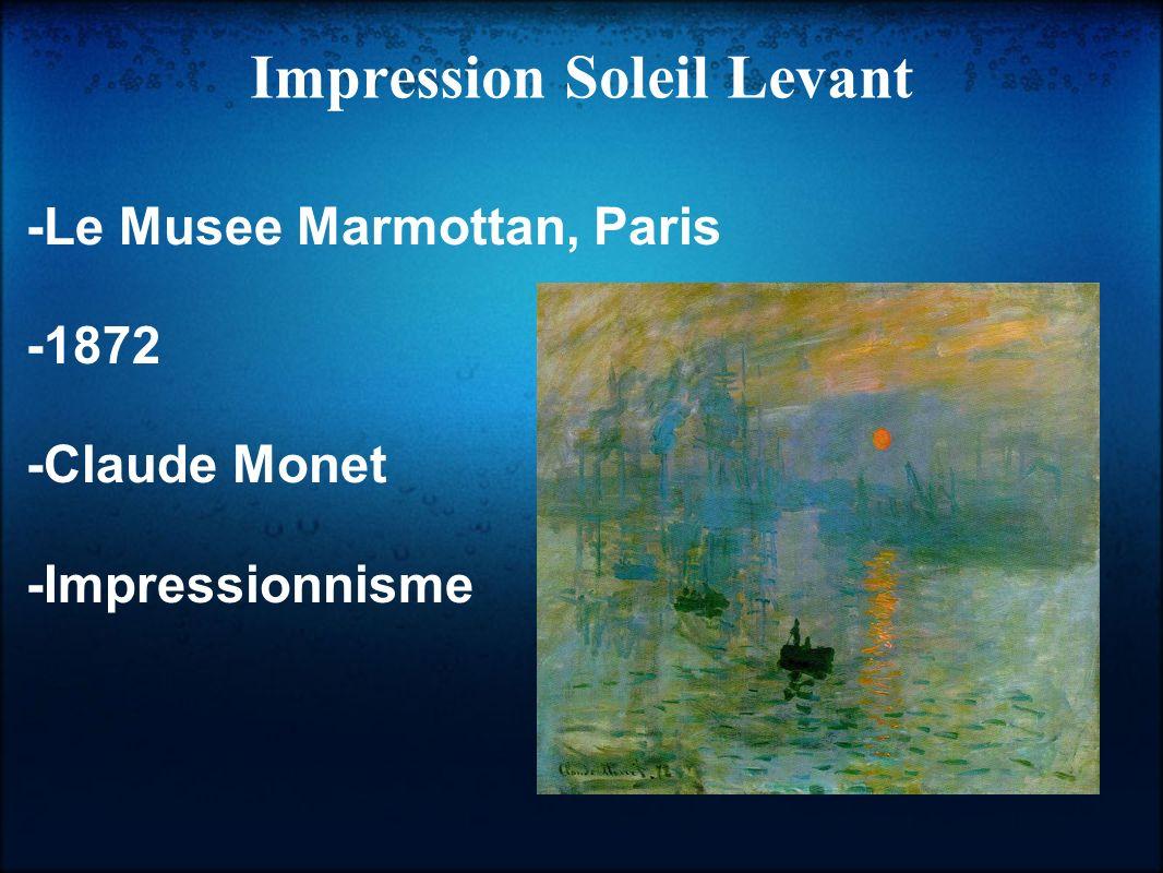 Cette peinture a été réalisée par Claude Monet en 1872 et Il décrit un lever de soleil.