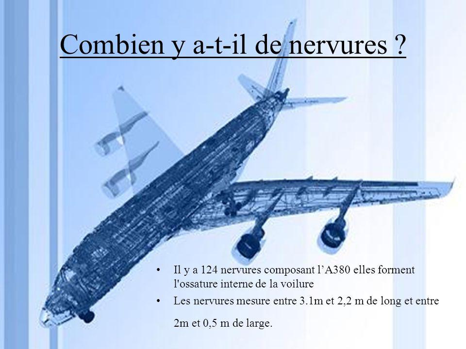 4 Combien y a-t-il de nervures ? Il y a 124 nervures composant lA380 elles forment l'ossature interne de la voilure Les nervures mesure entre 3.1m et