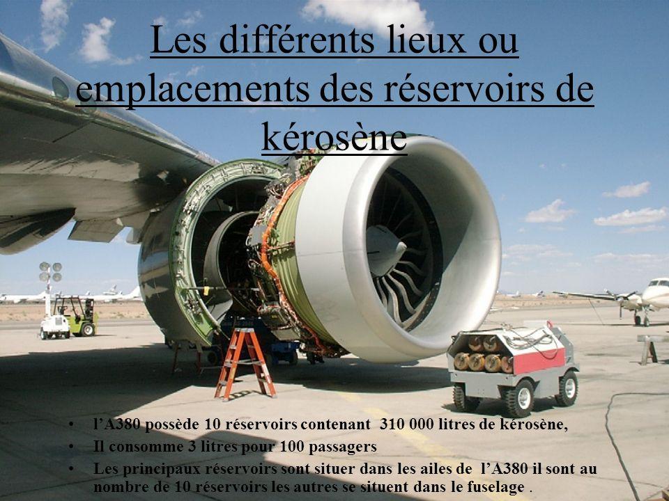 7 Les différents lieux ou emplacements des réservoirs de kérosène lA380 possède 10 réservoirs contenant 310 000 litres de kérosène, Il consomme 3 litr