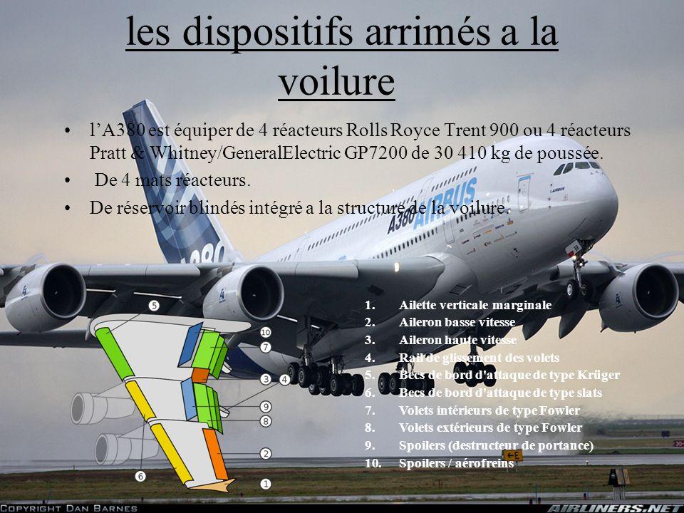 8 les dispositifs arrimés a la voilure lA380 est équiper de 4 réacteurs Rolls Royce Trent 900 ou 4 réacteurs Pratt & Whitney/GeneralElectric GP7200 de