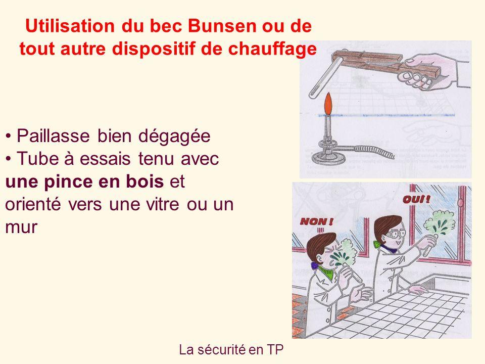 La sécurité en TP Utilisation du bec Bunsen ou de tout autre dispositif de chauffage Paillasse bien dégagée Tube à essais tenu avec une pince en bois et orienté vers une vitre ou un mur