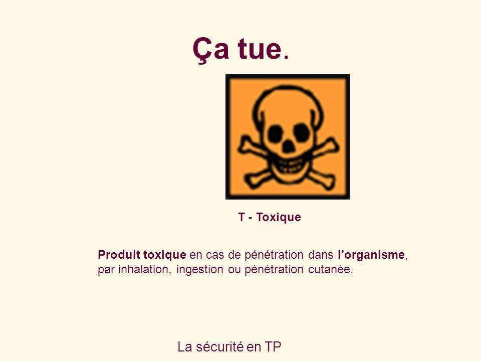 La sécurité en TP T - Toxique Produit toxique en cas de pénétration dans l organisme, par inhalation, ingestion ou pénétration cutanée.