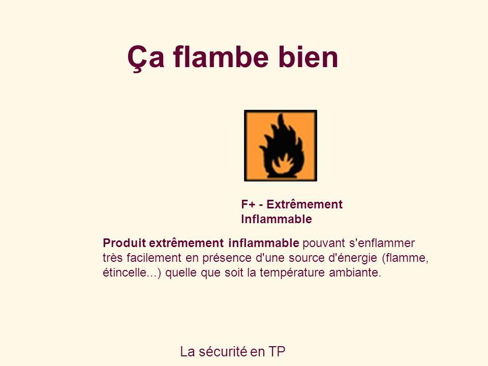 La sécurité en TP F+ - Extrêmement Inflammable Produit extrêmement inflammable pouvant s enflammer très facilement en présence d une source d énergie (flamme, étincelle...) quelle que soit la température ambiante.
