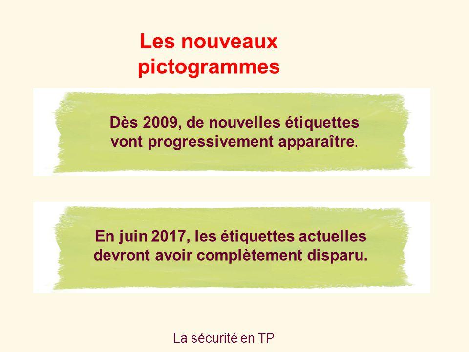 La sécurité en TP Les nouveaux pictogrammes Dès 2009, de nouvelles étiquettes vont progressivement apparaître.