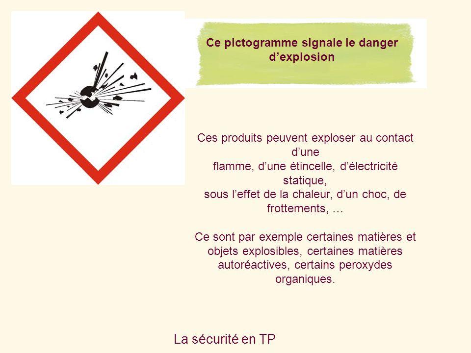 La sécurité en TP Ces produits peuvent exploser au contact dune flamme, dune étincelle, délectricité statique, sous leffet de la chaleur, dun choc, de frottements, … Ce sont par exemple certaines matières et objets explosibles, certaines matières autoréactives, certains peroxydes organiques.