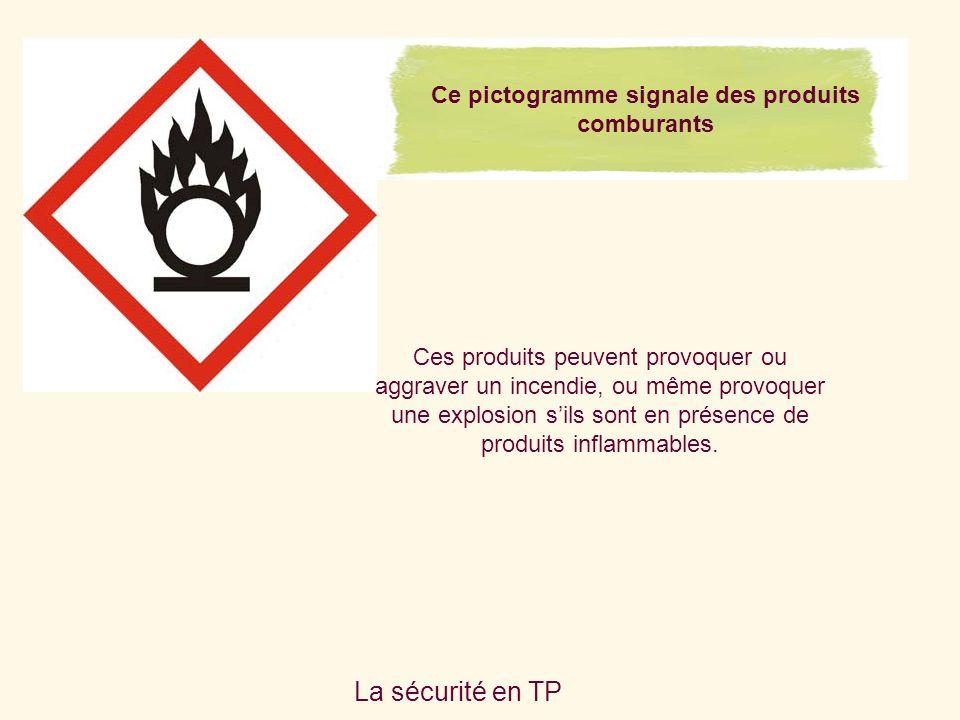 La sécurité en TP Ces produits peuvent provoquer ou aggraver un incendie, ou même provoquer une explosion sils sont en présence de produits inflammables.