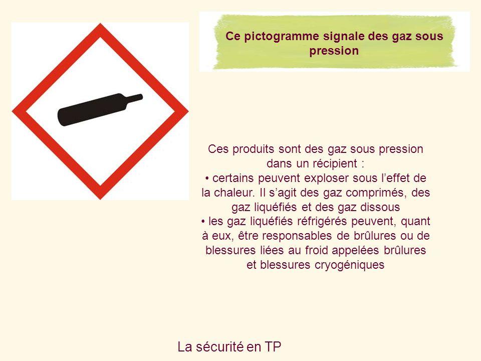 La sécurité en TP Ce pictogramme signale des gaz sous pression Ces produits sont des gaz sous pression dans un récipient : certains peuvent exploser sous leffet de la chaleur.