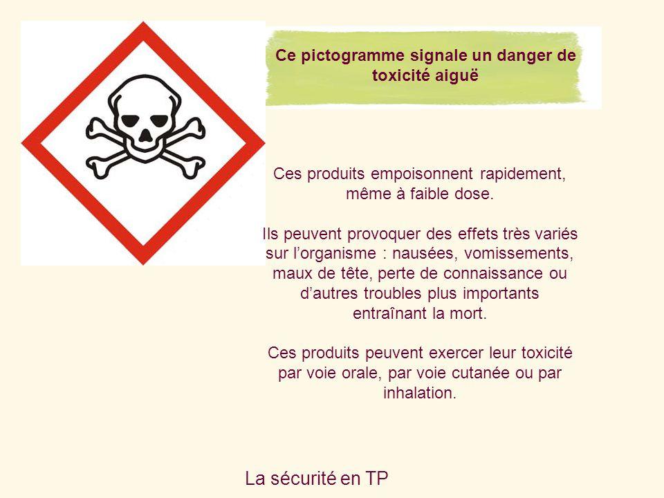La sécurité en TP Ce pictogramme signale un danger de toxicité aiguë Ces produits empoisonnent rapidement, même à faible dose.