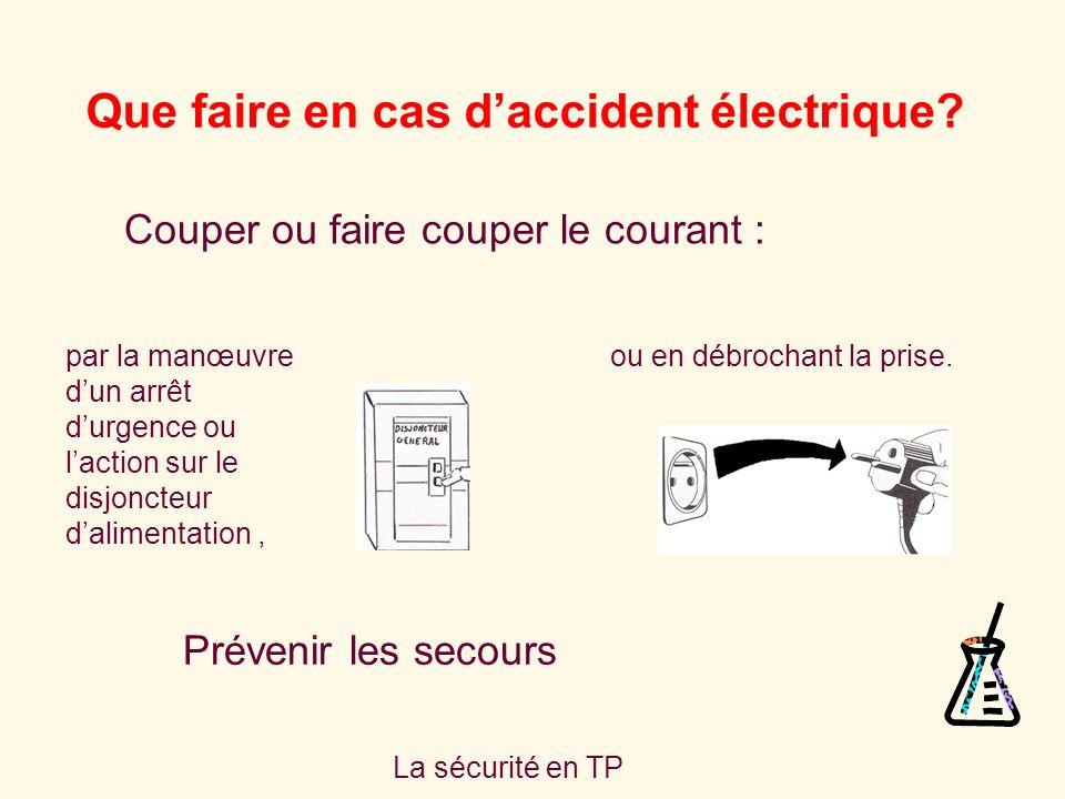 La sécurité en TP Que faire en cas daccident électrique.