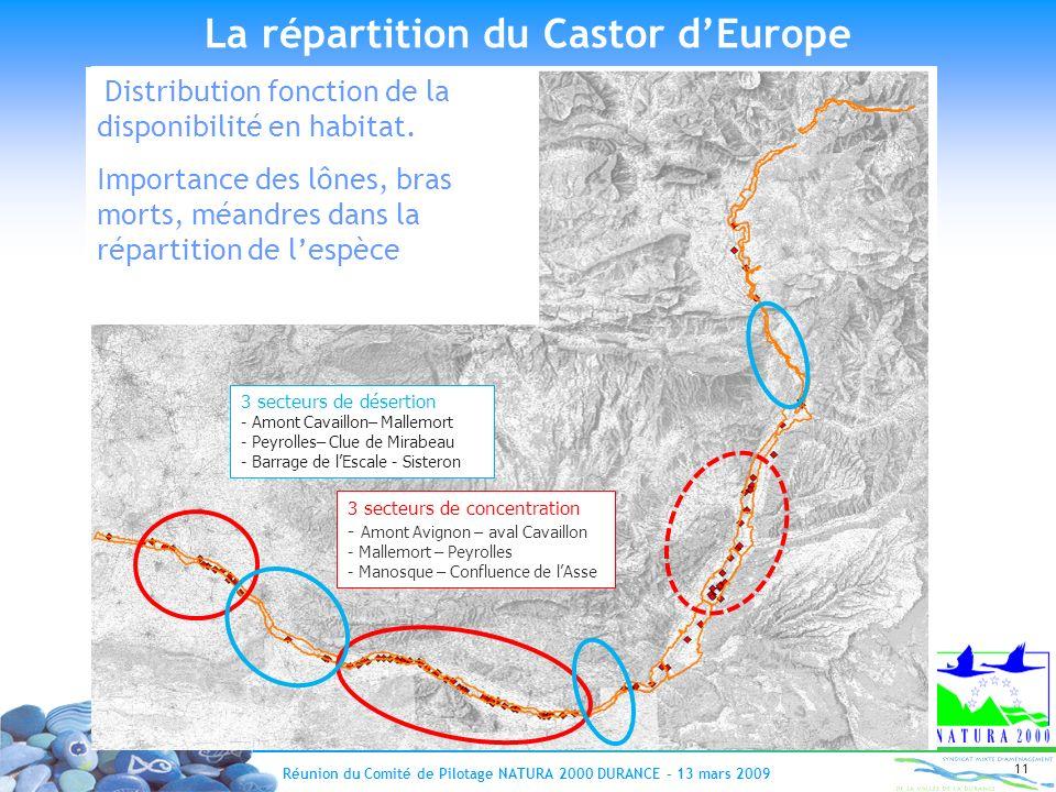 Réunion du Comité de Pilotage NATURA 2000 DURANCE – 13 mars 2009 11 3 secteurs de désertion - Amont Cavaillon– Mallemort - Peyrolles– Clue de Mirabeau
