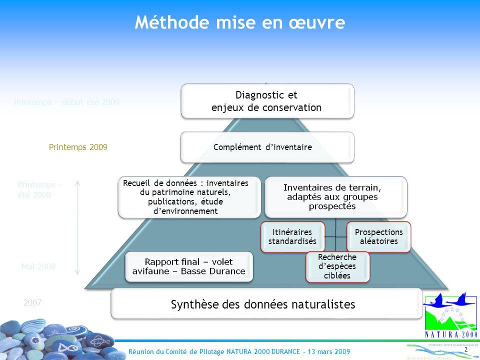 Réunion du Comité de Pilotage NATURA 2000 DURANCE – 13 mars 2009 2 Prospections aléatoires Itinéraires standardisés Recueil de données : inventaires d