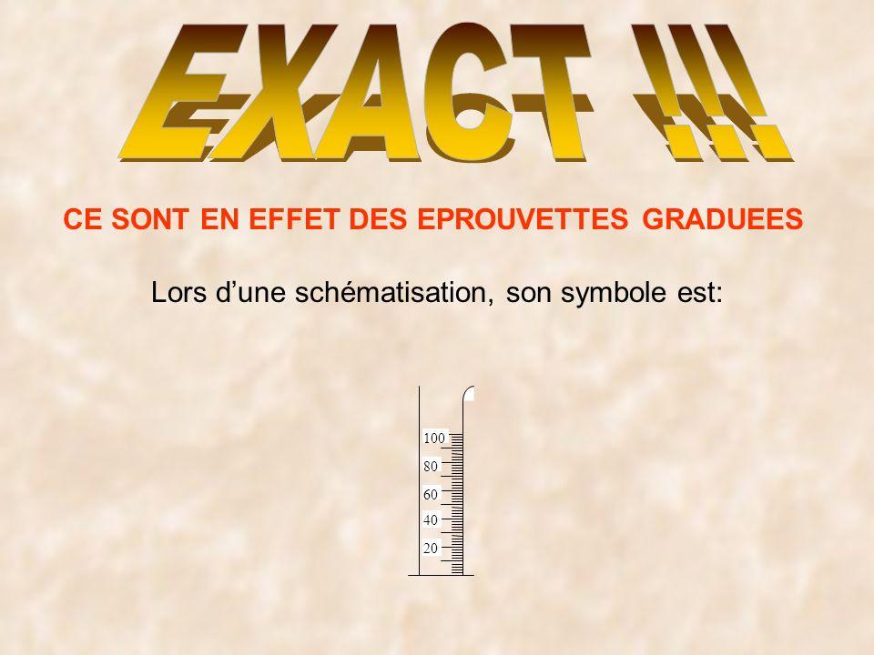CE SONT EN EFFET DES EPROUVETTES GRADUEES Lors dune schématisation, son symbole est: 20 40 60 80 100