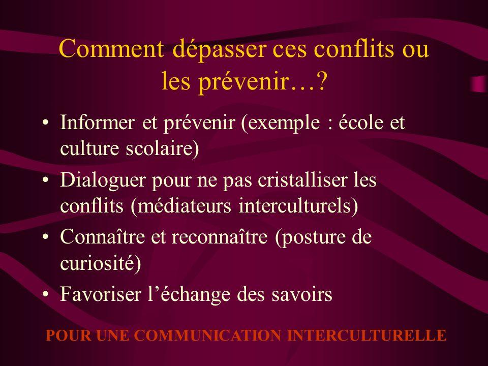 Comment dépasser ces conflits ou les prévenir…? Informer et prévenir (exemple : école et culture scolaire) Dialoguer pour ne pas cristalliser les conf