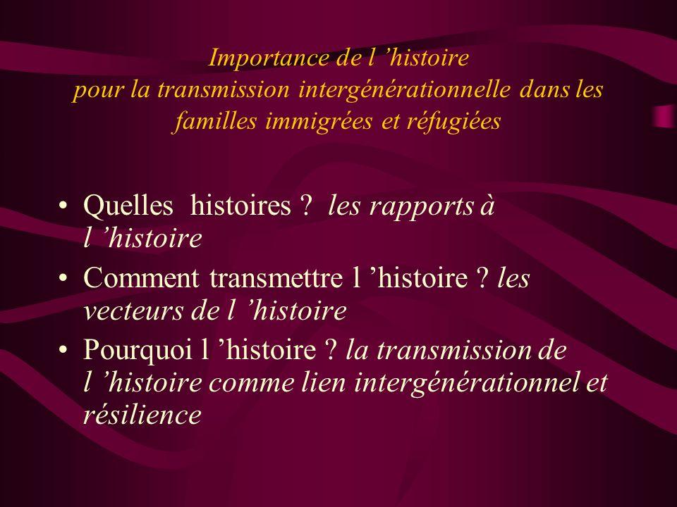 Importance de l histoire pour la transmission intergénérationnelle dans les familles immigrées et réfugiées Quelles histoires ? les rapports à l histo