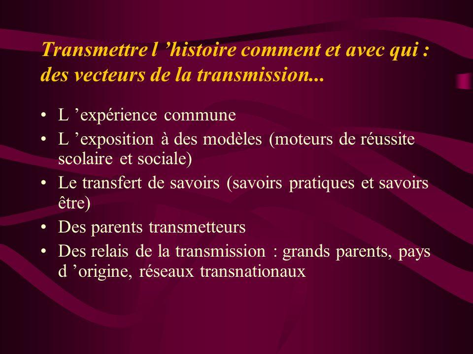 Transmettre l histoire comment et avec qui : des vecteurs de la transmission... L expérience commune L exposition à des modèles (moteurs de réussite s