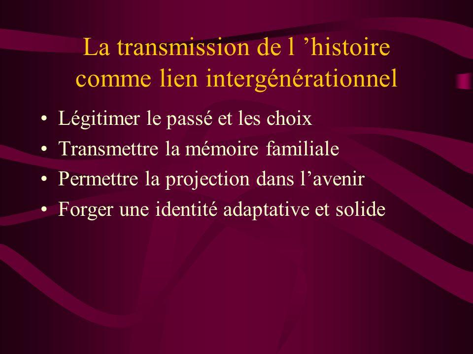 La transmission de l histoire comme lien intergénérationnel Légitimer le passé et les choix Transmettre la mémoire familiale Permettre la projection d