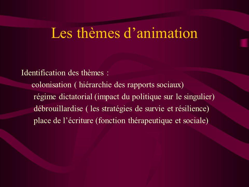 Les thèmes danimation Identification des thèmes : colonisation ( hiérarchie des rapports sociaux) régime dictatorial (impact du politique sur le singu